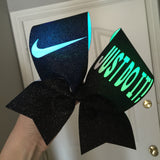 Just Do It LIGHT UP COLOR CHANGING Nike Swoosh Cheer Bow FULL BLACK GLITTER