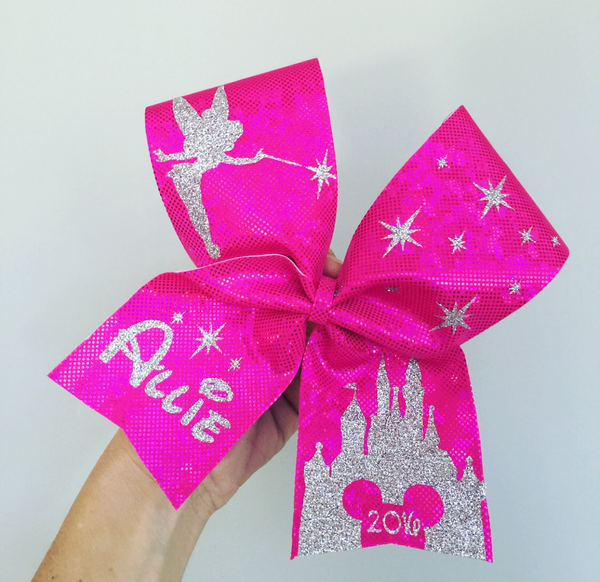 Personalized Deluxe Disney Castle Tinkerbell cheer bow YOU CHOOSE COLORS