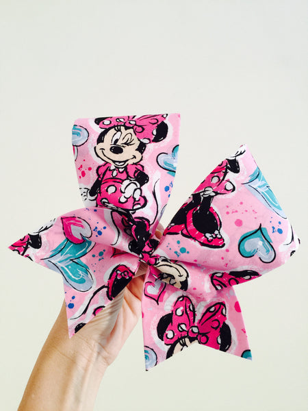 Cute Pink Minnie Mouse Fabric Cheer Bow