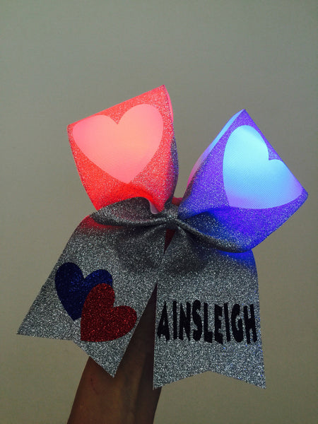 Queen of Hearts Light Up Personalized Cheer Bow full glitter
