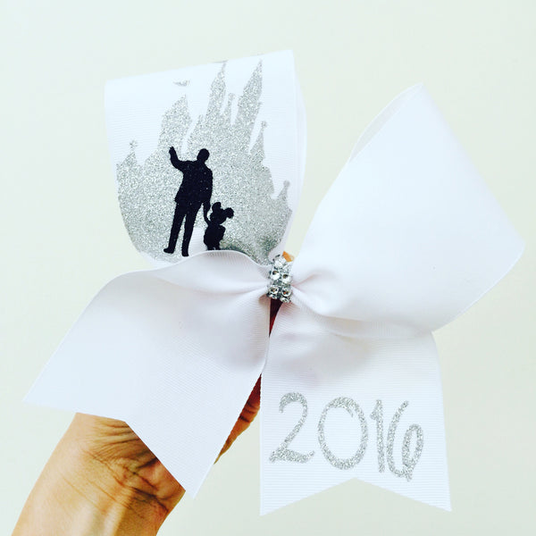PERSONALIZED Walt Disney and Mickey Glitter Castle cheer bow