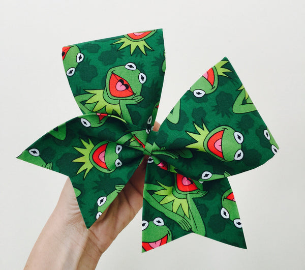 Kermit The Frog Fabric Cheer Bow