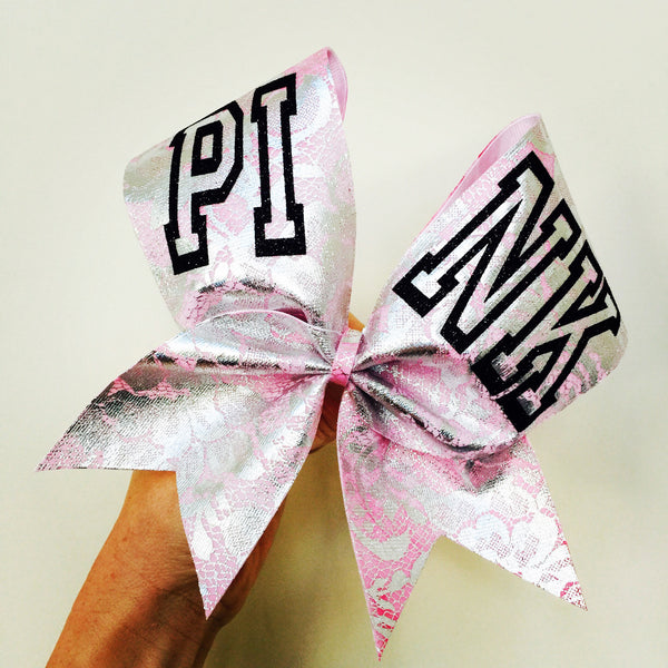 PINK Ombré Metallic Lace Cheer Bow