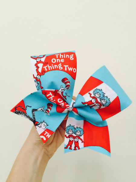 Thing One Thing Two Fabric Cheer Bow