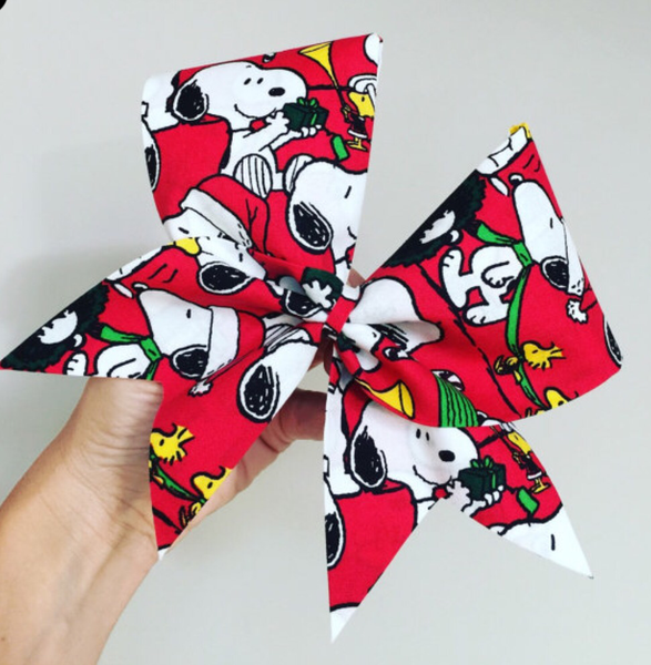 Snoopy Christmas Holiday Cheer Bow