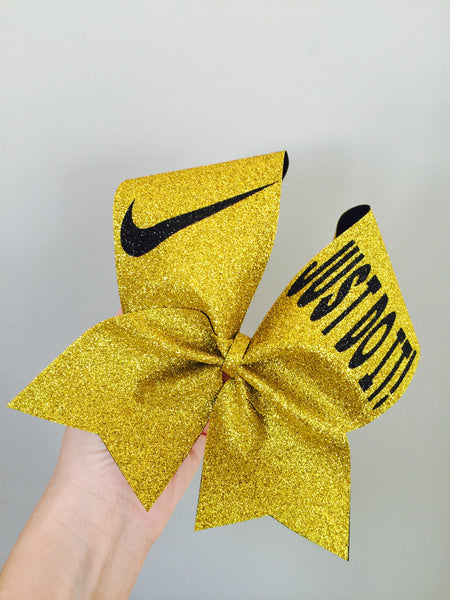 Deluxe Full Glitter Gold and Black JUST DO IT Cheer Bow Nike Swoosh