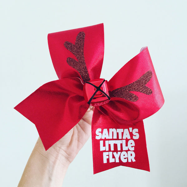 Santa's Little Flyer Reindeer Jingle Bell Christmas Cheer Bow