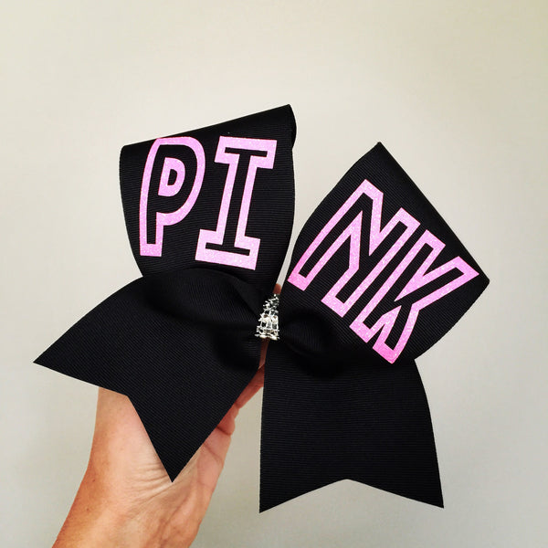 PINK Cheer Bow Black and Neon Pink Glitter