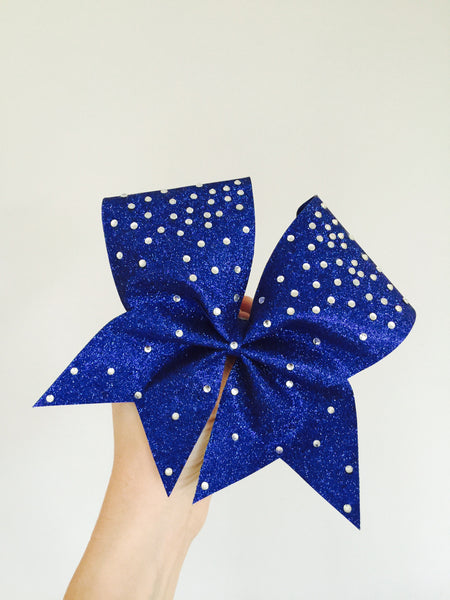 Royal Blue Total Glitter Cheer Bow embellished in sparkling Rhinestones