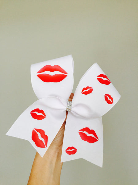 Kisses Cheer Bow Red Lips Valentine's Day Bow Kiss