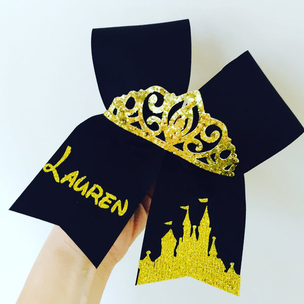 Black and Gold PERSONALIZED Glitter Disney Castle Tiara Cheer Bow