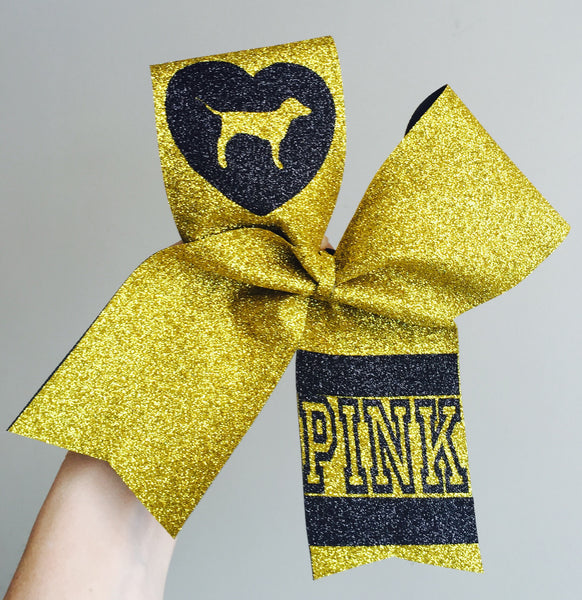 Deluxe FULL GOLD AND BLACK VS PINK DOG CHEER BOW