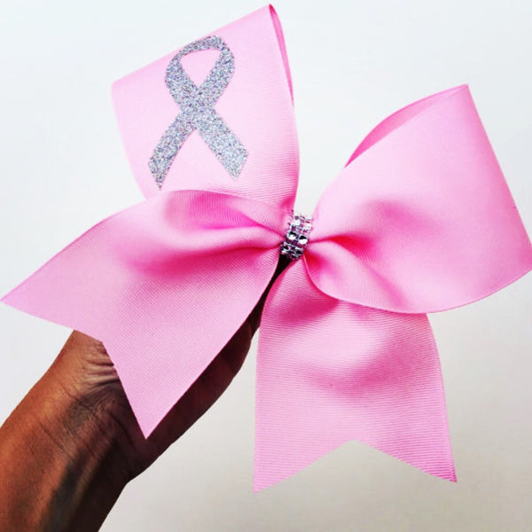Pink Cheer Bow with silver glitter Breast Cancer Ribbon