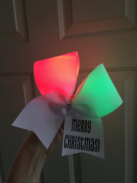 Light Up Merry Christmas Cheer Bow with Red and Green Lights