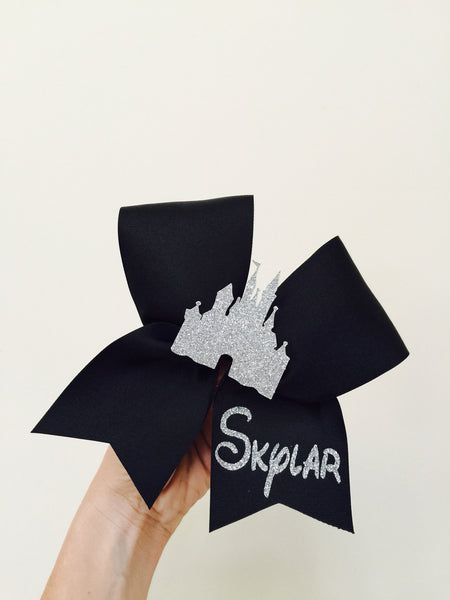 Black and silver PERSONALZED Glitter Disney Castle Cheer Bow!