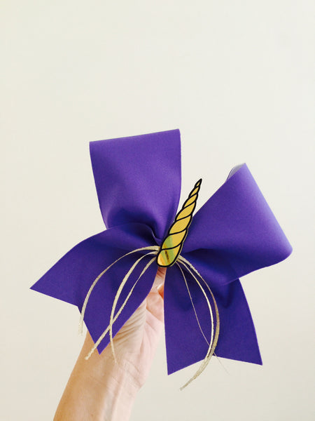 Purple Unicorn cheer bow with golden horn