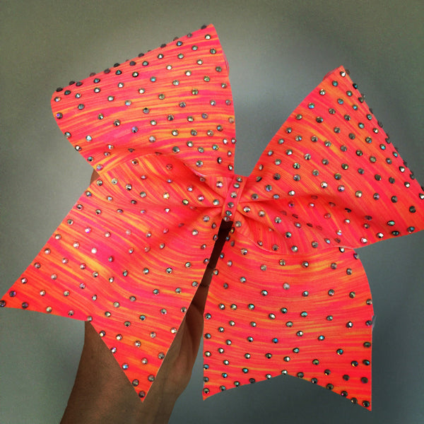 Neon sunset spandex rhinestone bling Cheer Bow pink orange