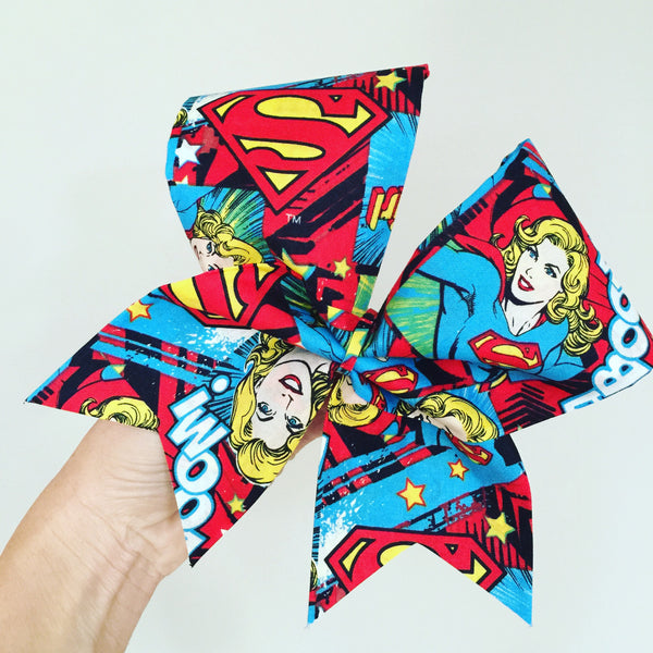 Supergirl Comic Big Bright Fabric Cheer Bow Super Girl