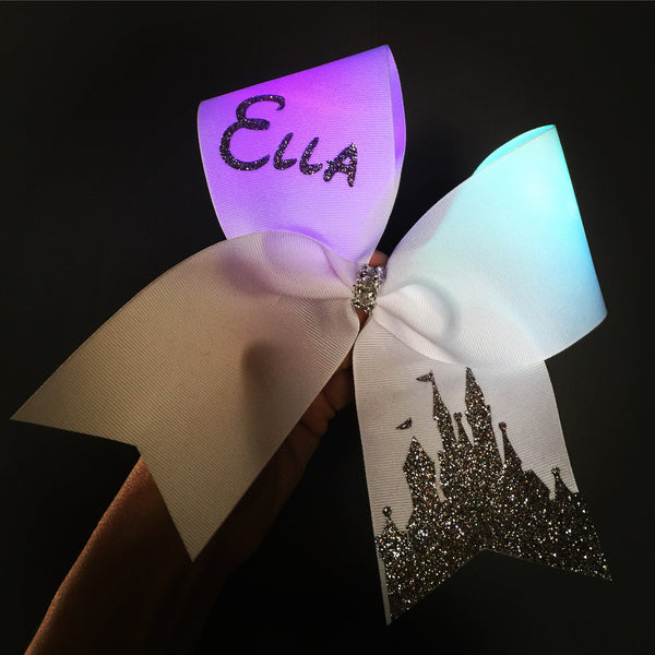 Light Up COLOR CHANGING Rainbow Lights Disney Castle Cheer Bow PERSONALIZED