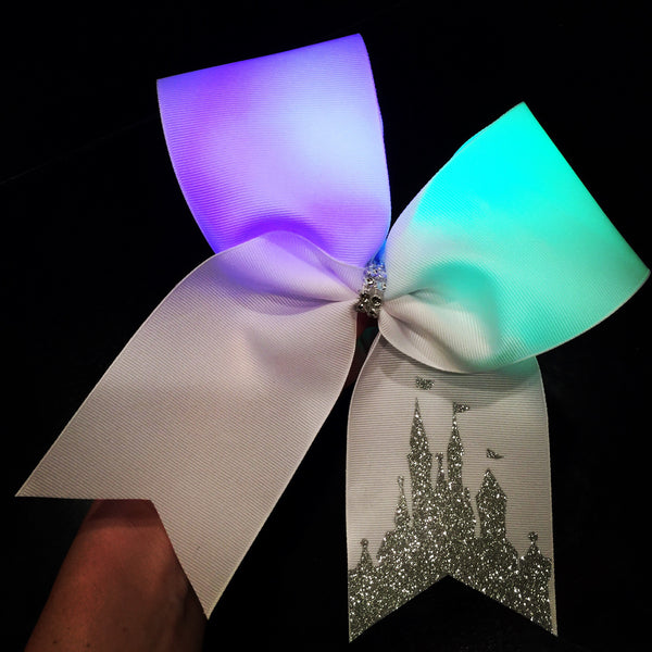 LIGHT UP! Color Changing Rainbow lights Glitter Disney Castle Cheer bow! Can be personalized!