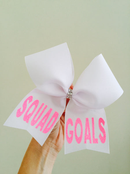 White and Pink Neon Squad Goals Cheer Bow