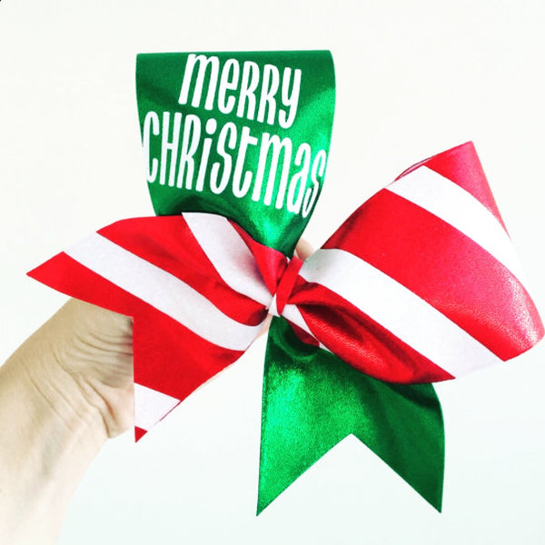 Merry Christmas Spandex Cheer Bow