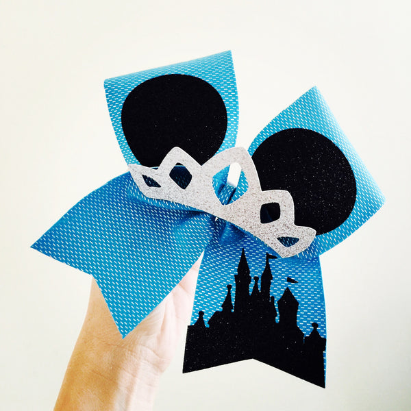 Frozen Blue Holographic Spandex Mickey Ears Tiara Disney Castle Cheer Bow