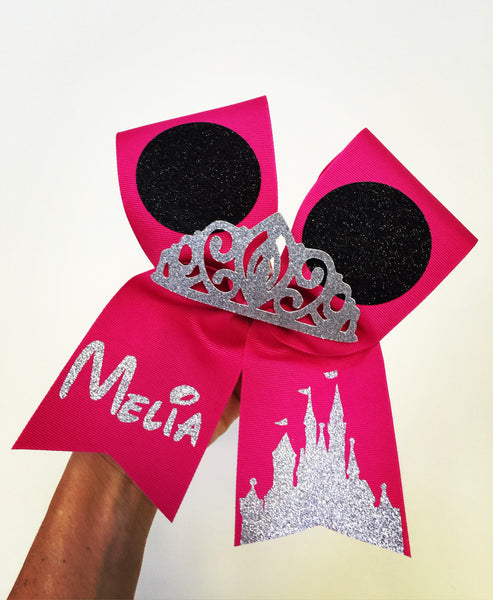 Hot Pink Minnie Mouse Ears PERSONALIZED cheer bow with glitter tiara