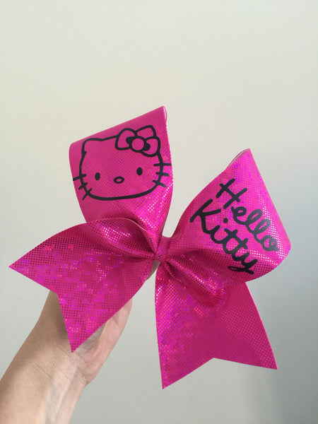 Hello Kitty Holographic Pink spandex Cheer Bow