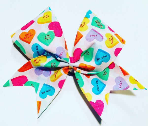Conversation Heart Cheer Bow Valentine's Day Bow