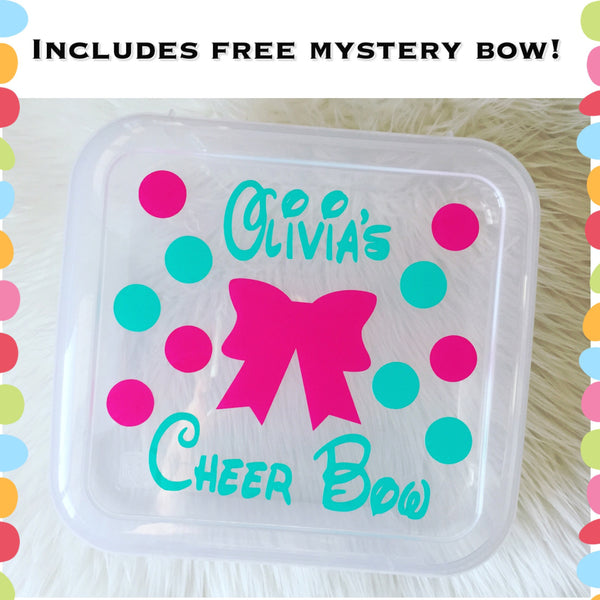 Personalized cheer bow box holder INCLUDES FREE MYSTERY BOW! Free Shipping