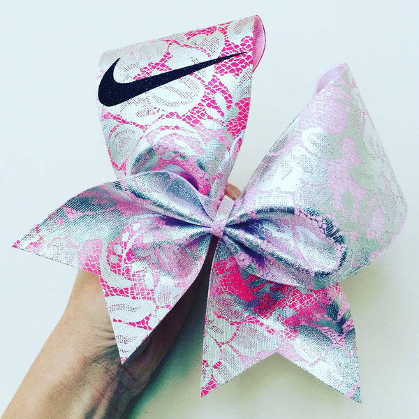 Pink Ombré Metallic Lace Nike Swoosh Cheer Bow
