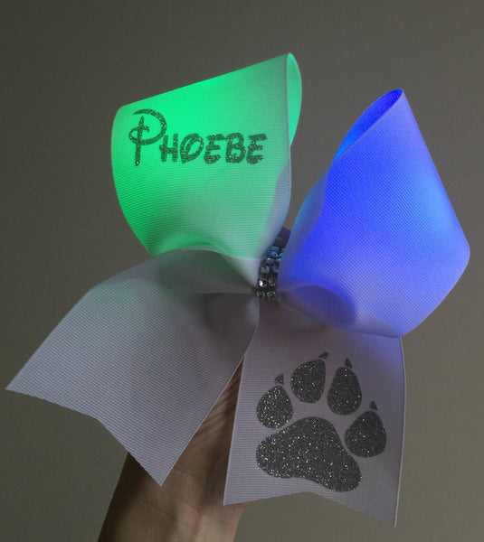 LIGHT UP Rainbow Color Changing Glitter Paw Print Cheer Bow PERSONALIZED