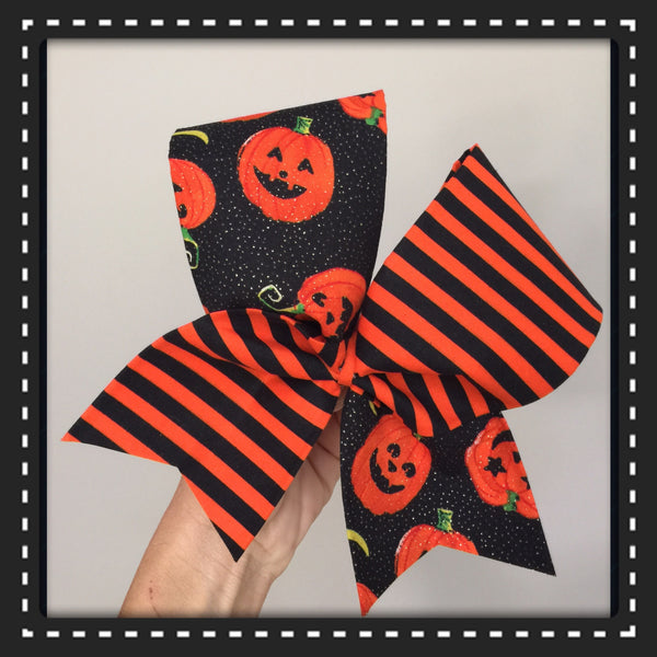 Halloween Tic Toc Cheer Bow Pumpkins and stripes