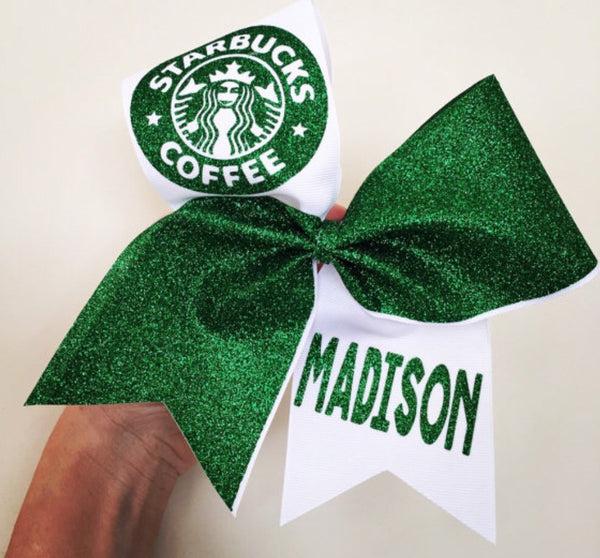 Personalized Starbucks Inspired Glitter Cheer Bow