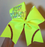 Pitch Perfect Softball Team Hair Bows Cheer Bow Neon Yellow Red