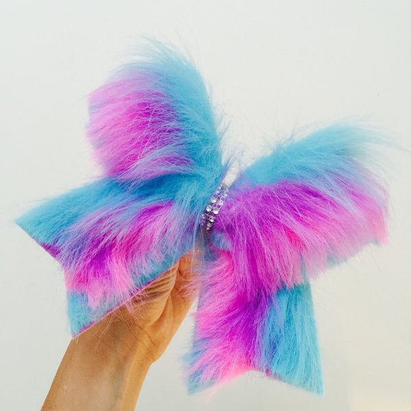 Furry Cotton Candy fur cheer bow pink purple blue