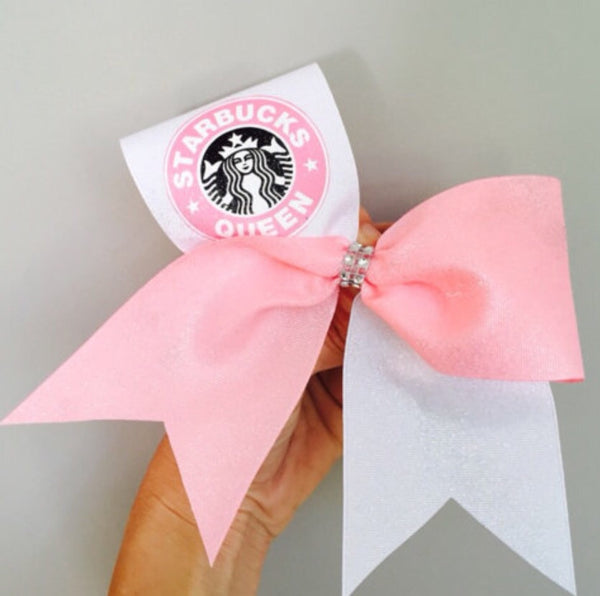 Starbucks Queen Pink and White Tick Tock Cheer Bow