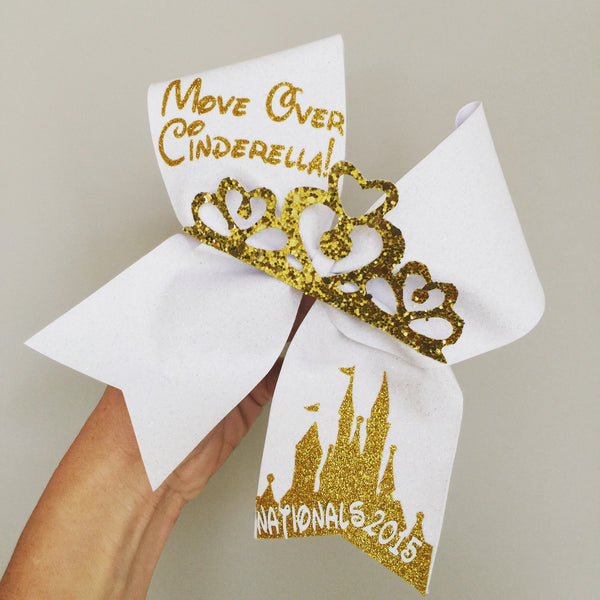 Personalized Cinderella white and Gold Cheer Bow with Glitter Tiara 2016