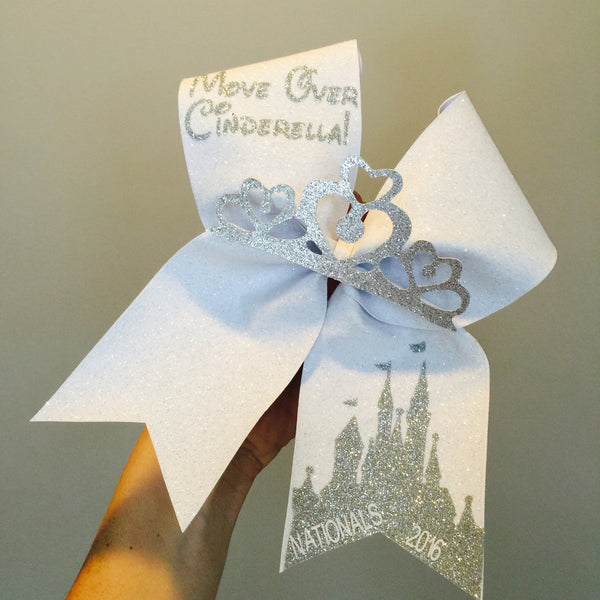 PERSONALIZED Move Over Cinderella White and Silver Glitter Tiara Cheer Bow