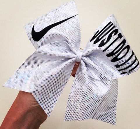 Just Do It Silver Holigraphic Spandex Cheer Biw Glitter Swoosh