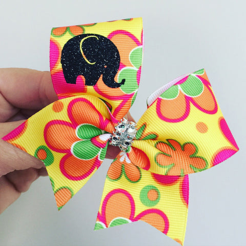 Baby Elephant Floral Baby Bow Flowered Mini bow