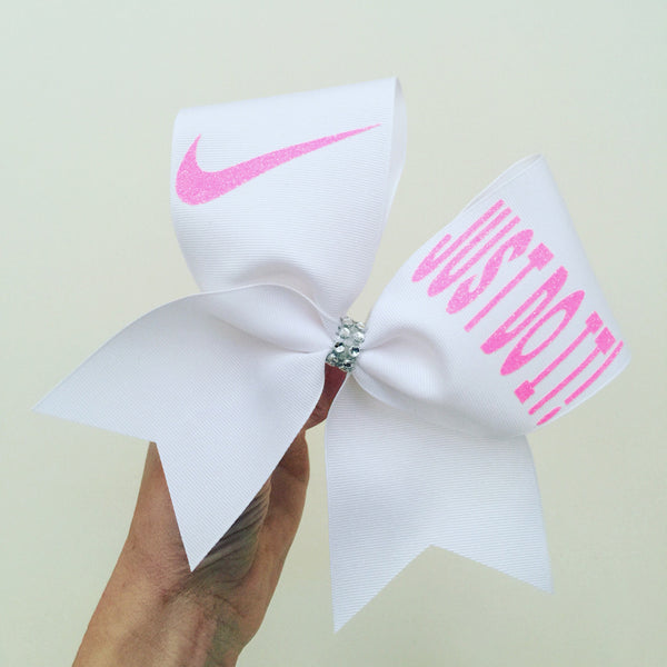 JUST DO IT NEON PINK GLITTER WHITE CHEER BOW
