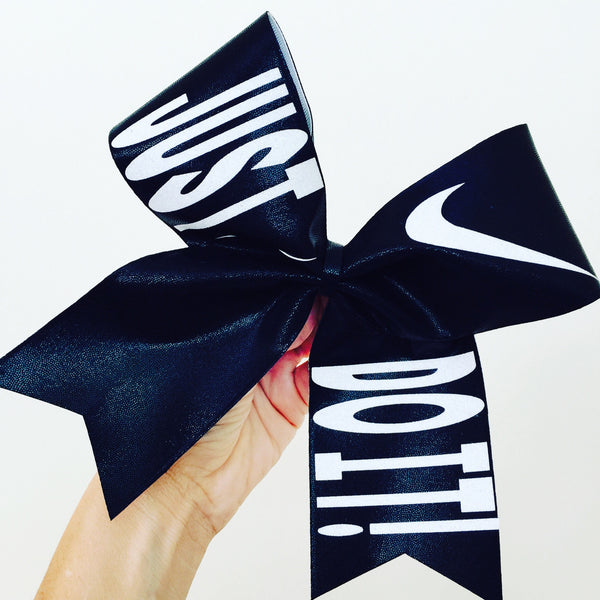 Just Do It Black and White Spandex Big Cheer Bow Nike
