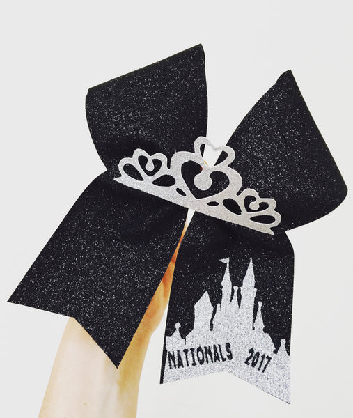 Total Glitter Personalized Disney Castle Tiara Cheer Bows Black and Silver