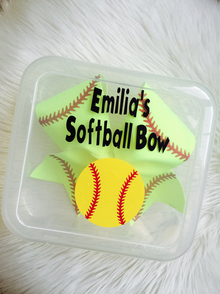Personalized Softball BOW Holder Box AND Softball Bow Included!