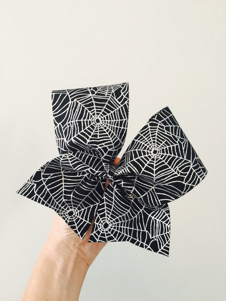 Halloween black and silver spider web Cheer bow