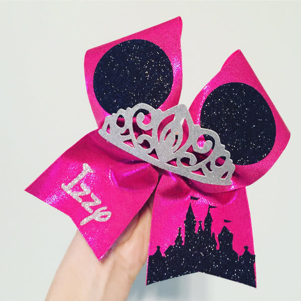 Hot Pink Disney Castle Tiara personalized cheer bow