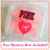 Love Pink Dog Cheer Bow Box Container Holder WITH FREE MYSTERY BOW INCLUDED!