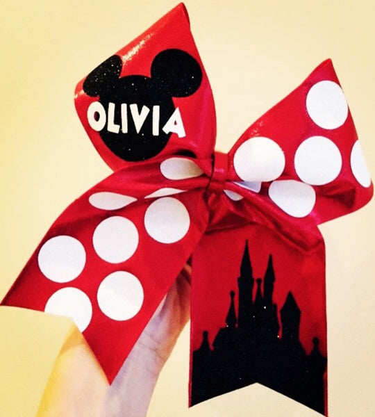 Personalized Red Mickey Polka dot Cheer Bow Disney Castle